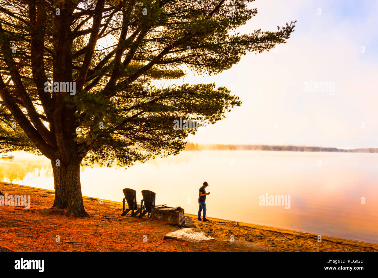 Sunrise at Canada,Ontario,Huntsville,Dwight, Dwight Beach sommer playground in Ontario's North in Cottage Country - Stock Image
