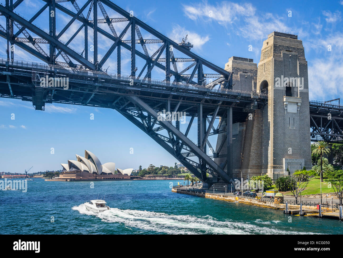 Australia, New South Wales, Sydney Harbour, Dawes Point, view of the southern Pylons of the Sydney Harbour Bridge - Stock Image