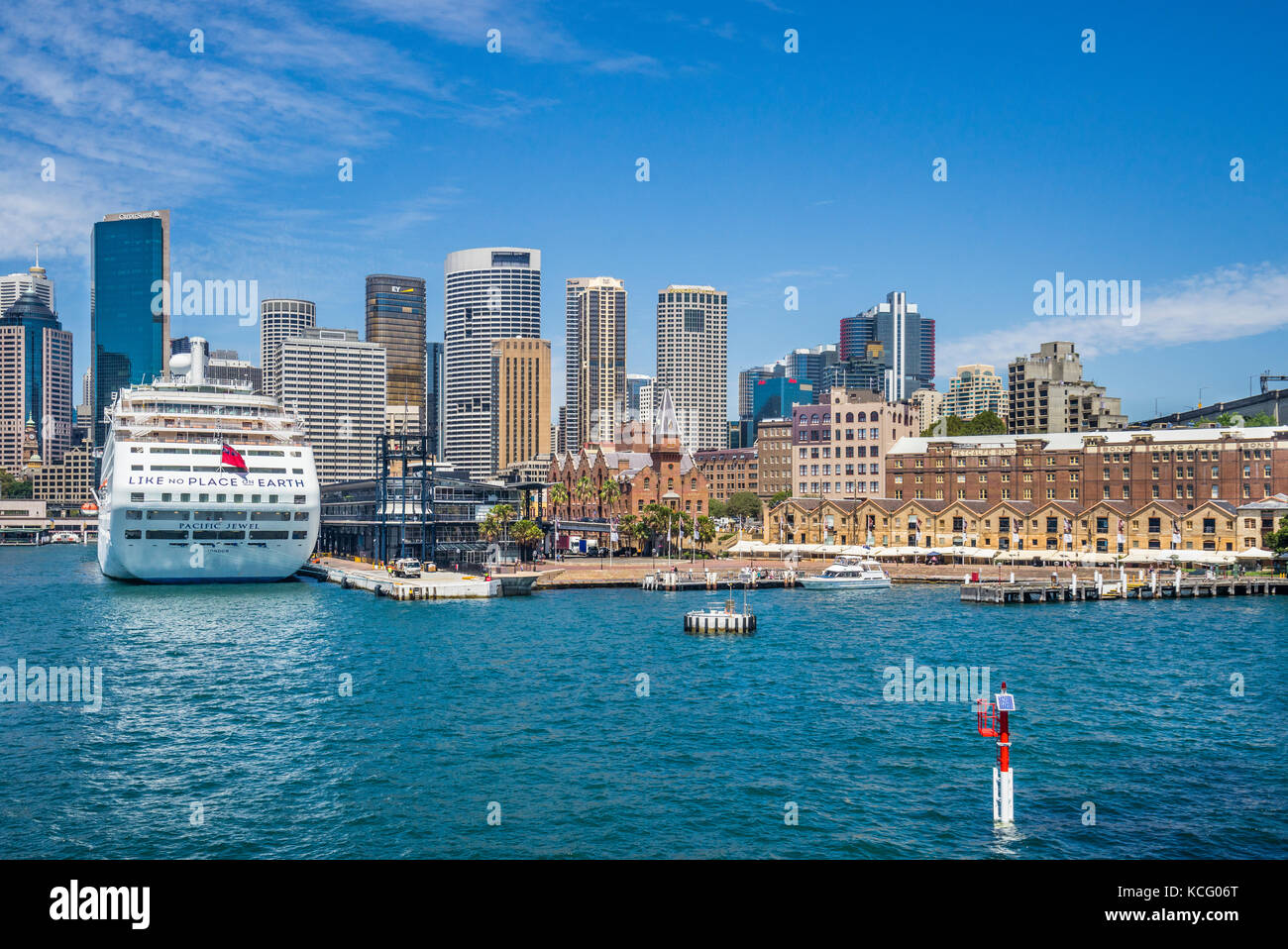 Australia, New South Wales, Sydney Cove, view of Campbells Cove and cruise ship Pacific Jewel at the Overseas Passenger Stock Photo