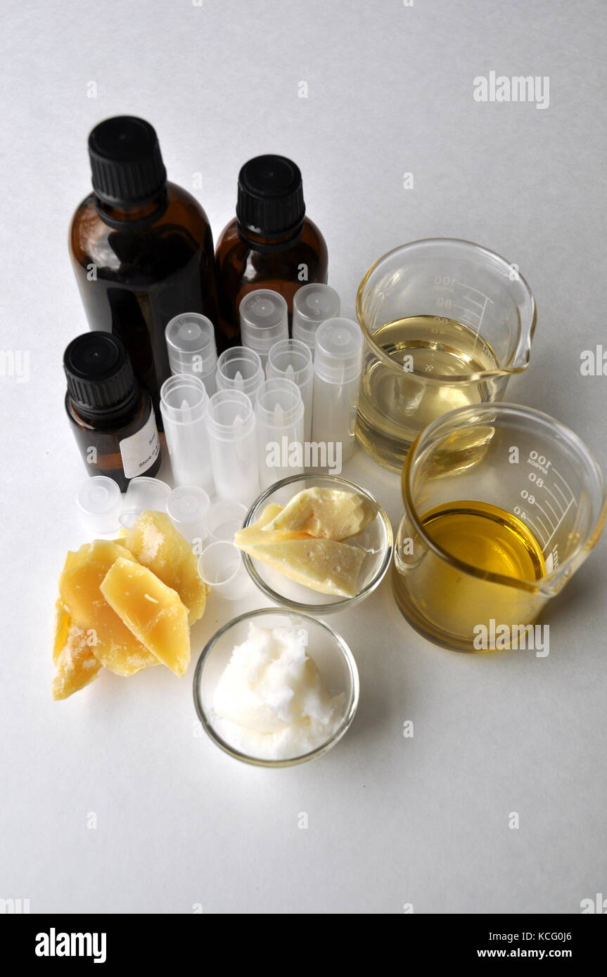 Ingredients and tools for making natural cosmetic products, skin care and beauty creams. Glass bottles, lip balm - Stock Image