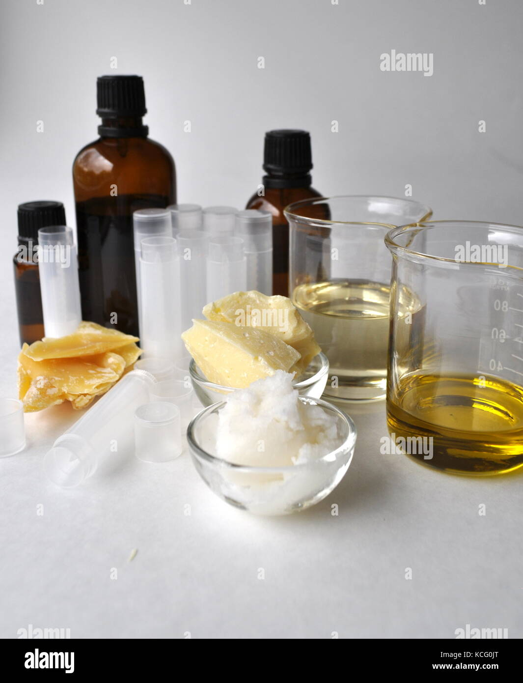 Ingredients and tools for making natural cosmetic products, skin