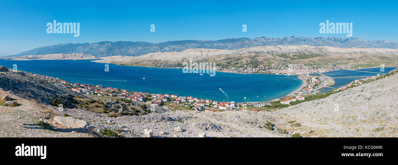 Stunning view onto Pag Island, Croatia - Stock Image