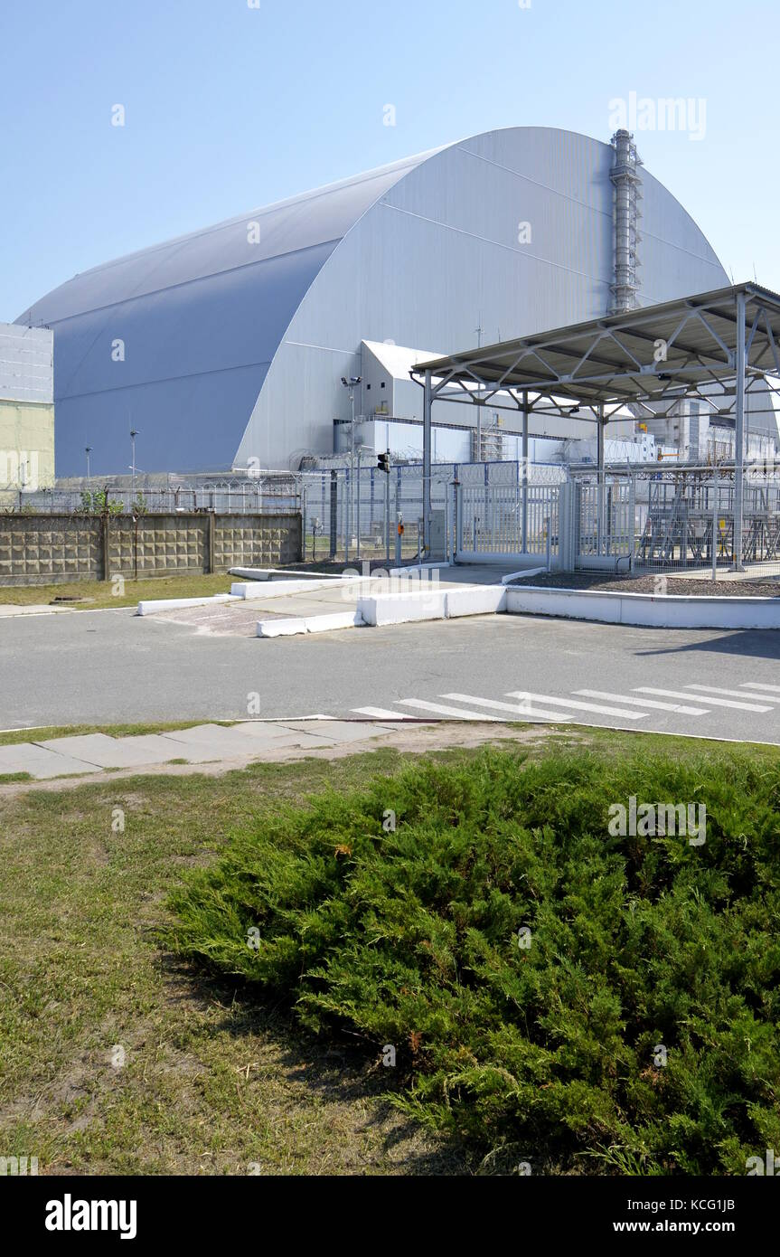 The reactor 4 of the Chernobyl Power Plant, covered by the new sarcophagus, in Ukraine. - Stock Image