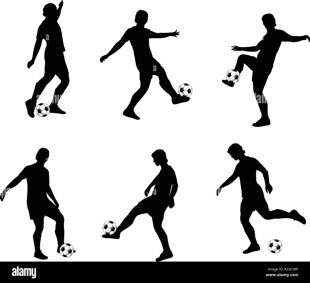 soccer players silhouettes collection - vector - Stock Vector