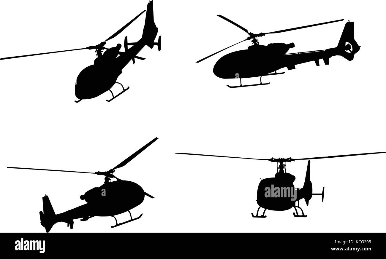 helicopter silhouettes - vector - Stock Vector