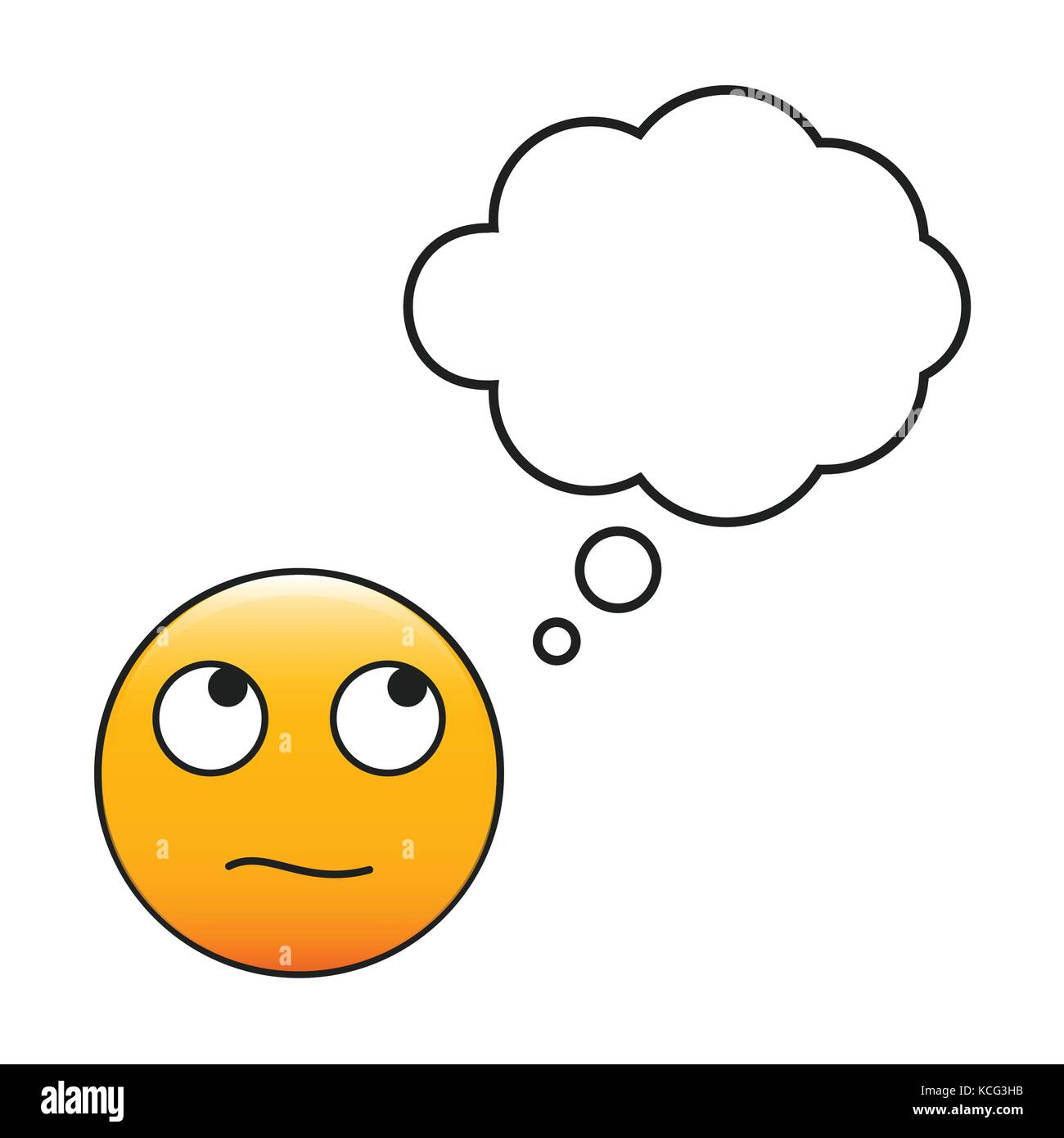 Thinking emoticon. Smiley with a thinking bubble. Vector emoji - Stock Vector