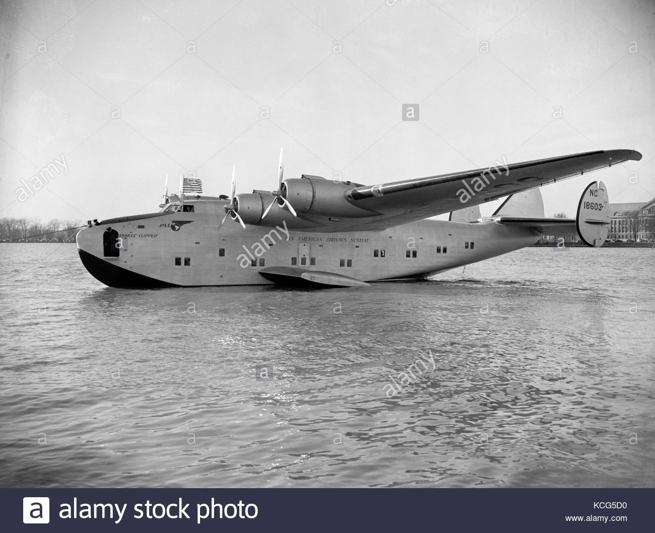 Airplane in water - Stock Image