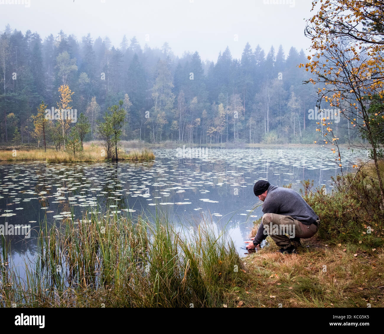 Hiker washing his face at autumn morning in the National Park, Finland - Stock Image