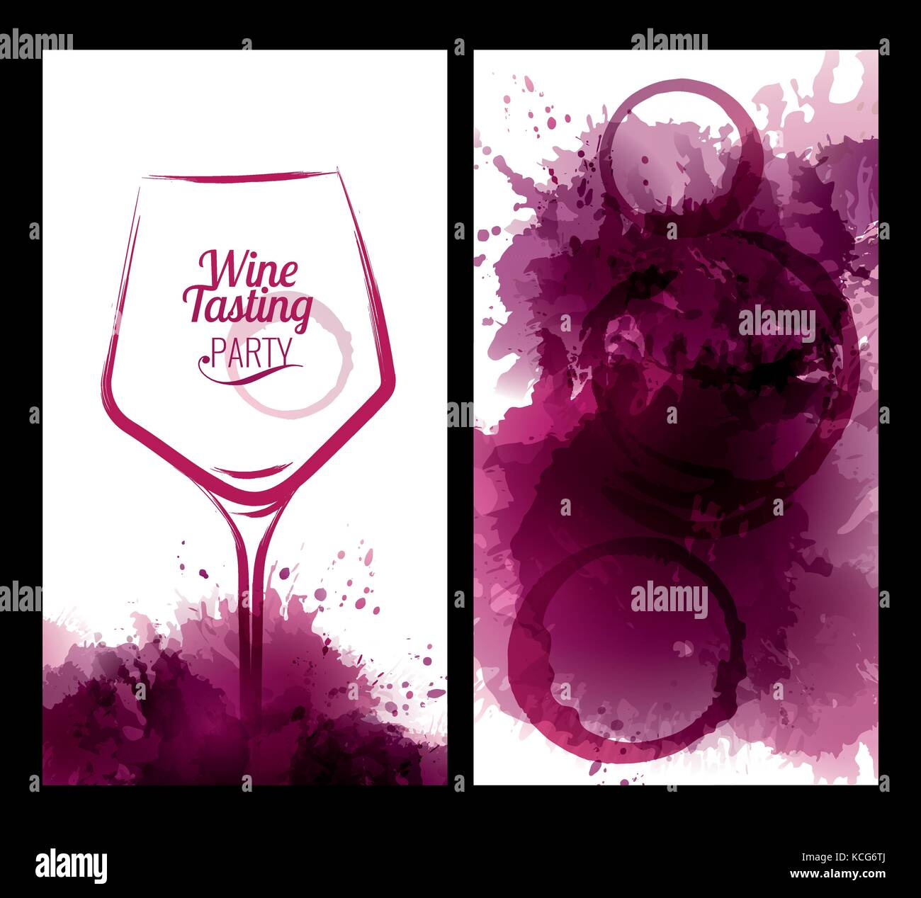 Illustration of wine glass with stains. Invitation template for wine ...