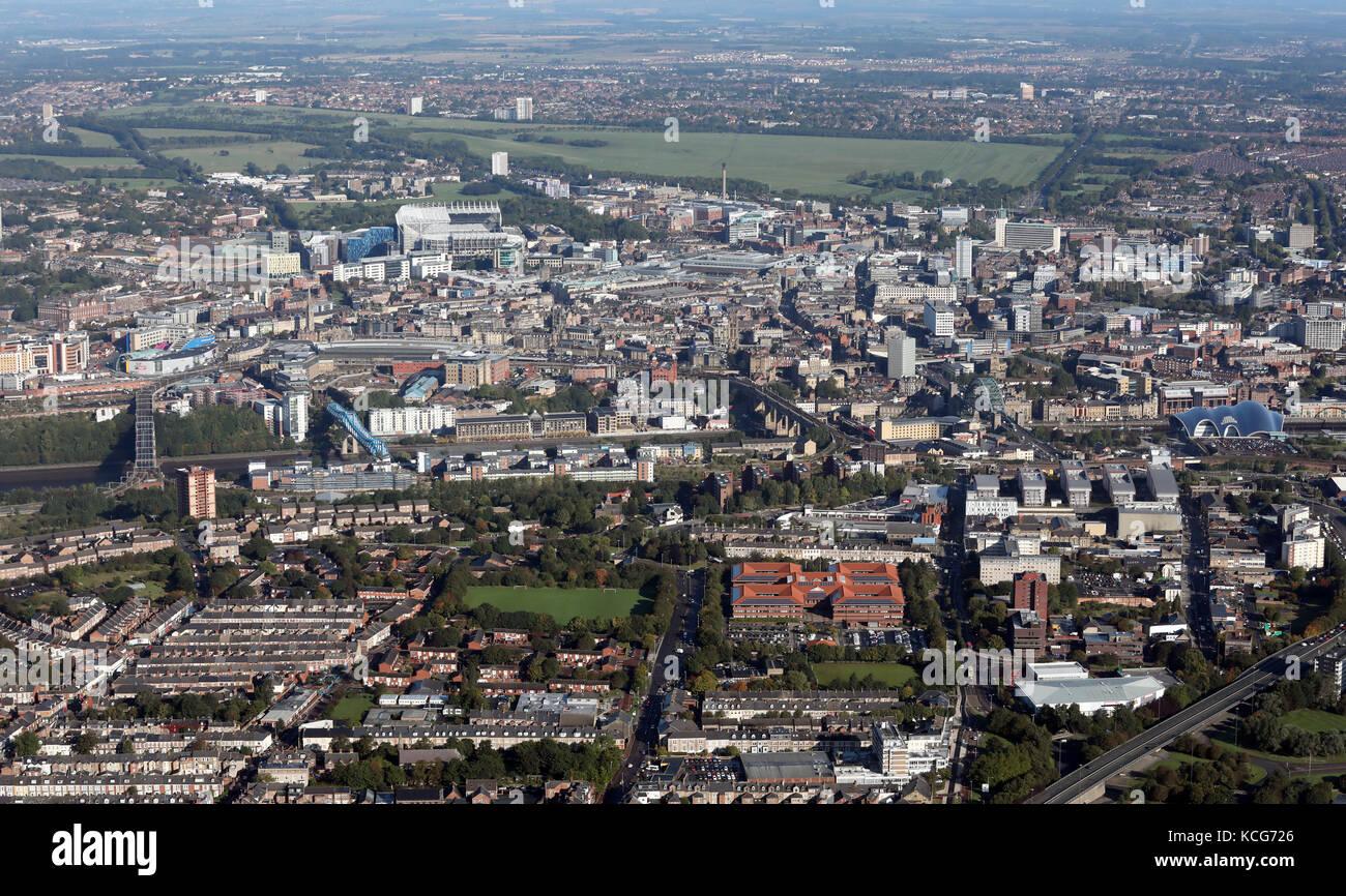 aerial view of Gateshead & Newcastle upon Tyne, UK Stock Photo