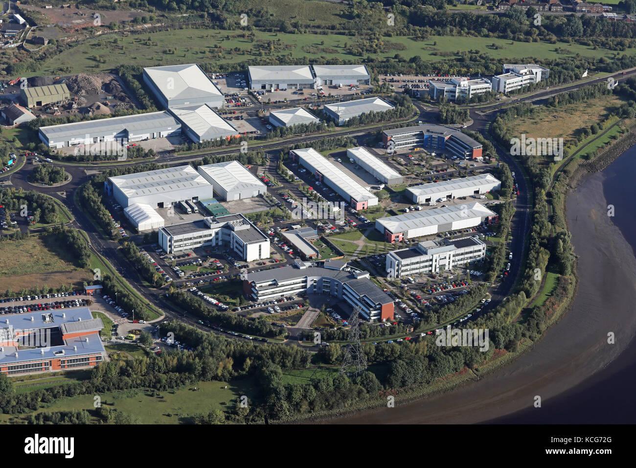 aerial view of Newburn Riverside Park, Newcastle upon Tyne, UK - Stock Image