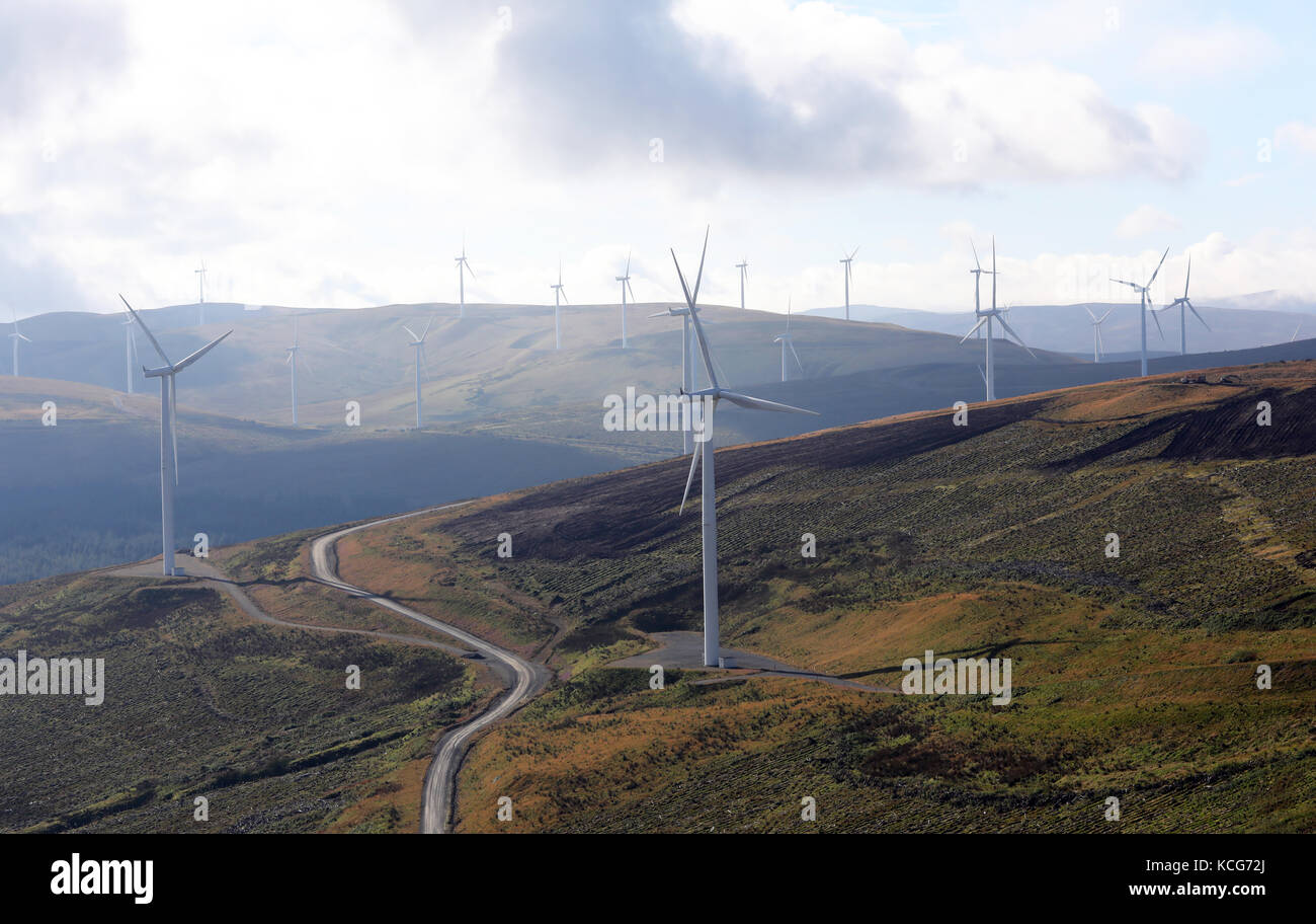 aerial view of Scottish wind turbines, west of the A74, South West Scotland, UK - Stock Image