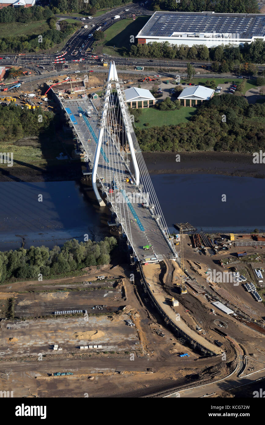 aerial view of the Northern Spire Bridge in Sunderland during construction - Stock Image
