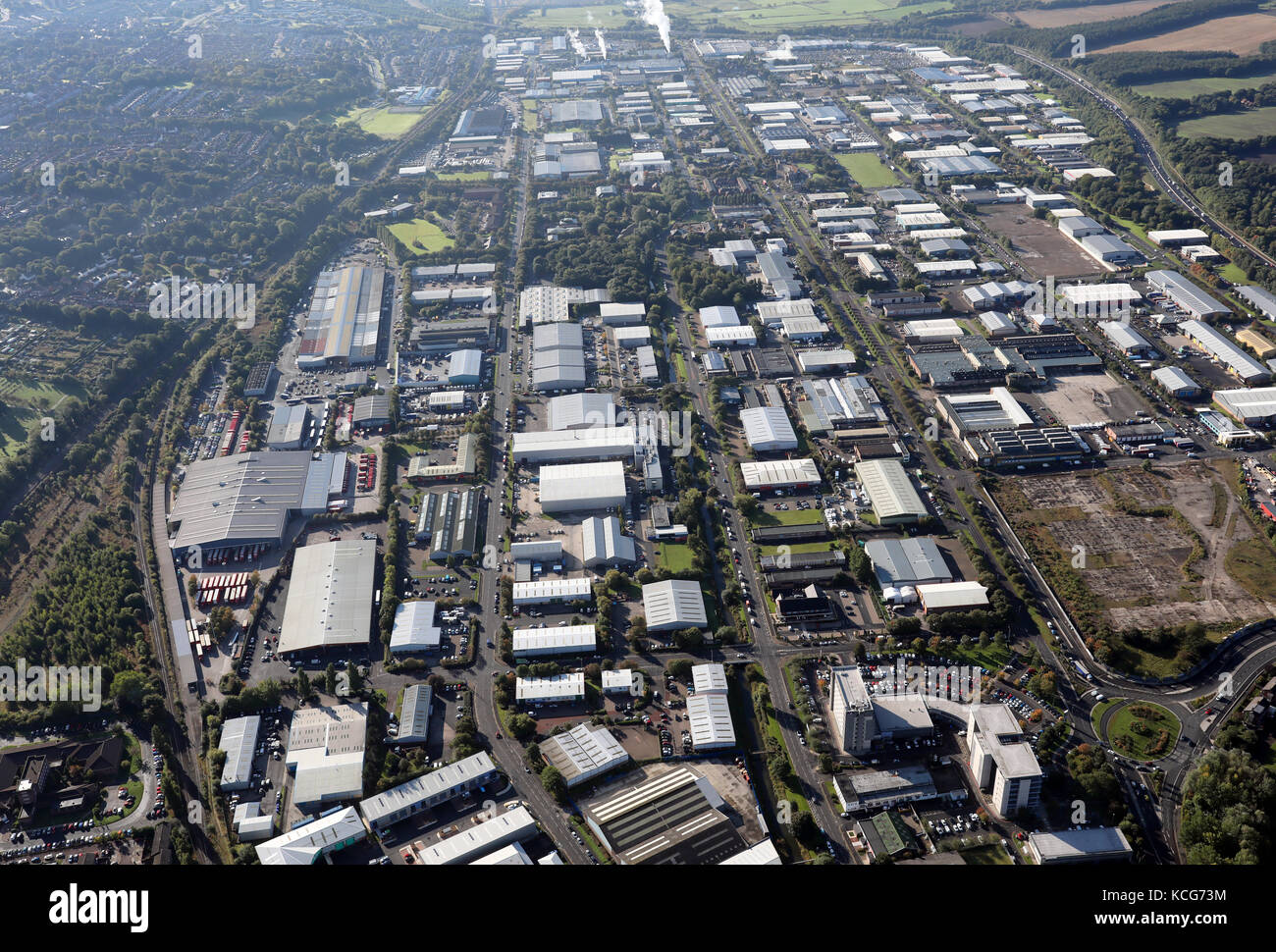 aerial view of Team Valley Trading Estate, Gateshead, UK - Stock Image