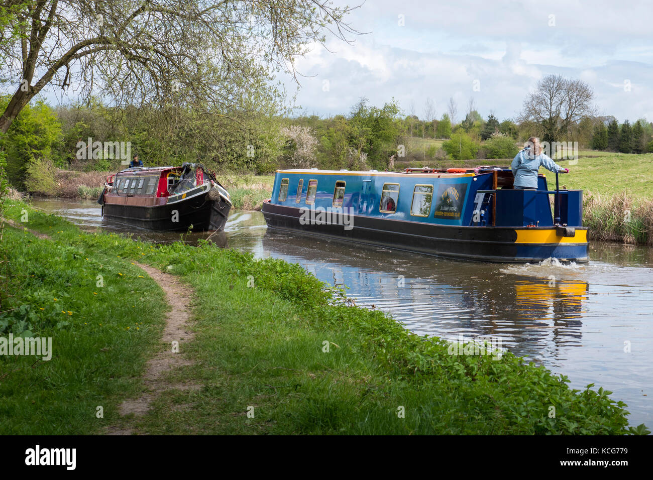 Canal boating Oxford Canal Oxfordshire England - Stock Image