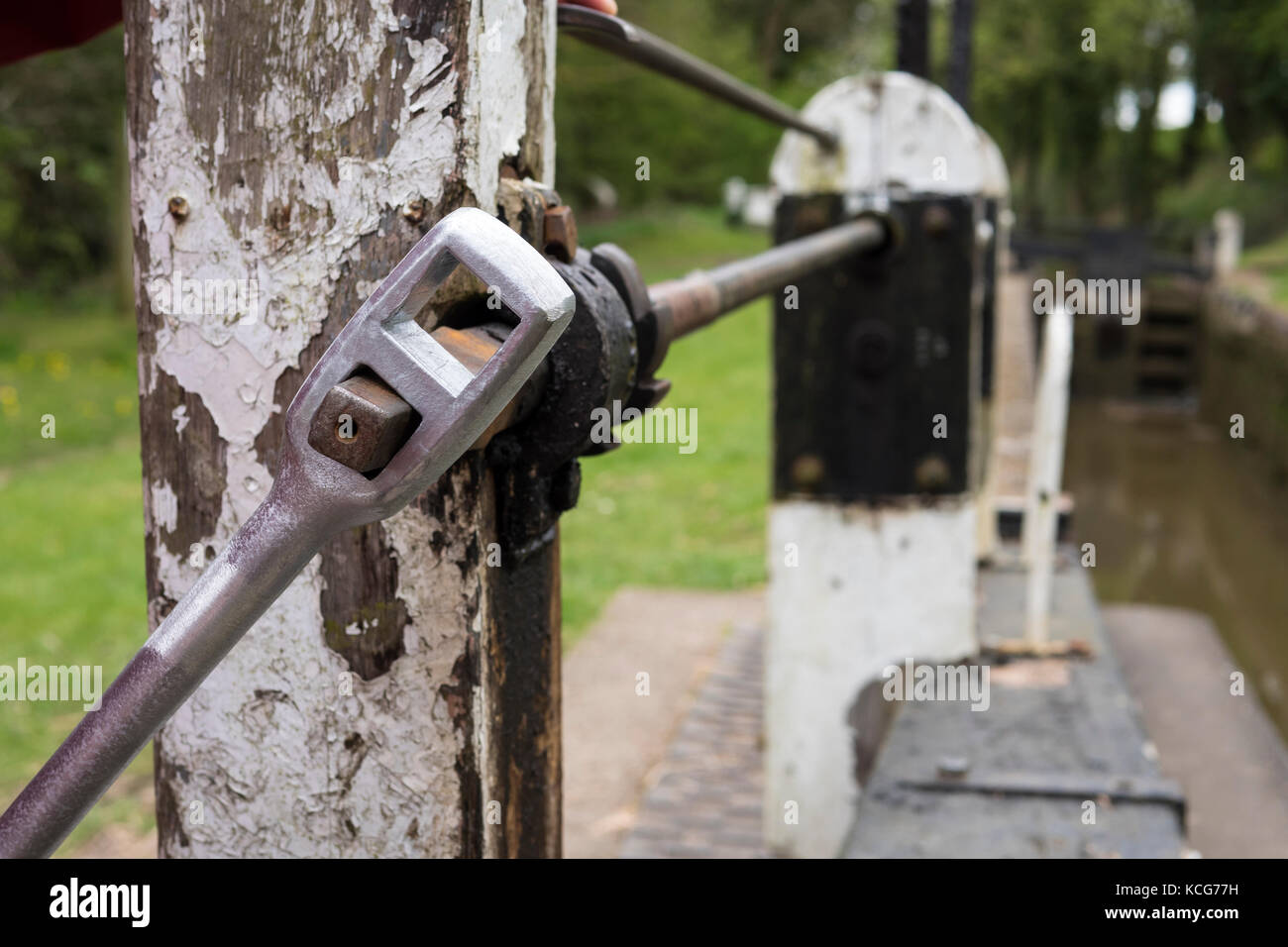 Lock key handle windlass canal boating Oxford Canal Oxfordshire England - Stock Image