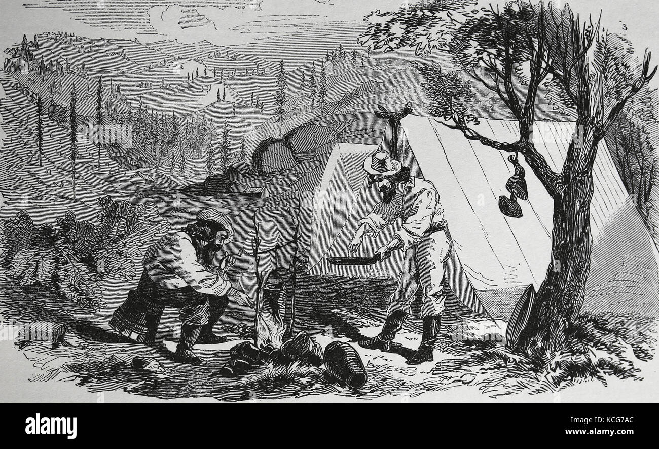 USA. The Gold Rush. Mining camp, Mother Lode contry. Cooking. California. Harper's Weekly, 1857. - Stock Image
