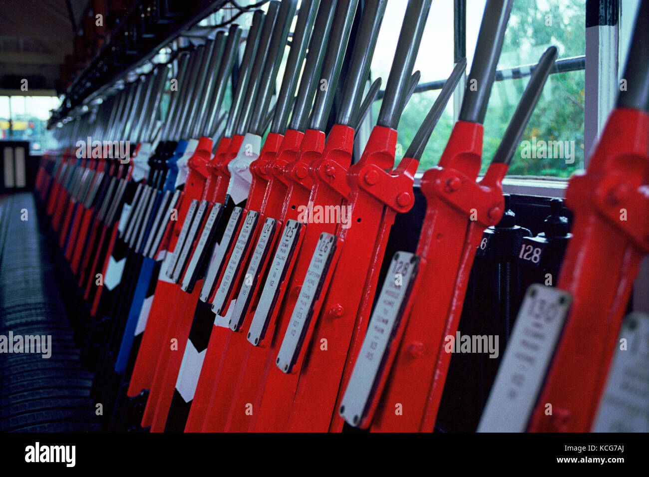 The signal Levers of Exeter West Signal Box, Crew Heritage Centre - Stock Image