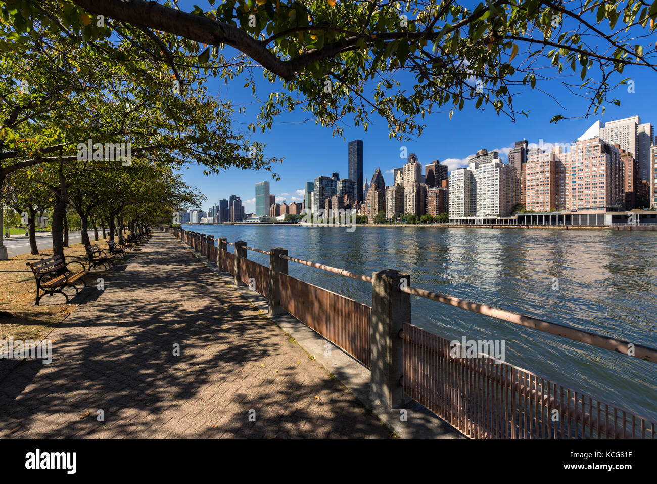 Summer view on Manhattan Midtown East skyscrapers from Roosevelt Island with the East River. New York City - Stock Image