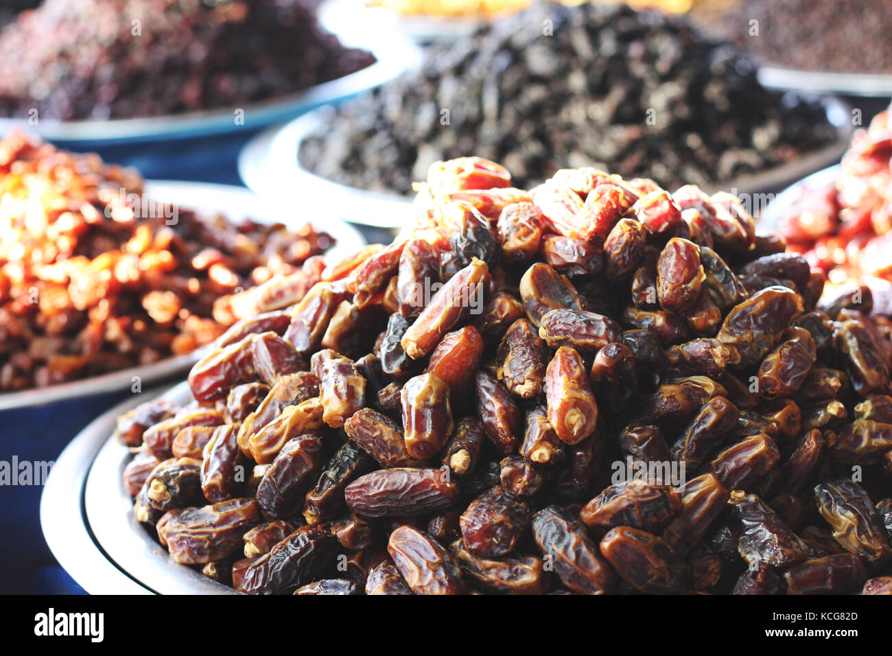 Dried dates and dried fruits at the east market Stock Photo