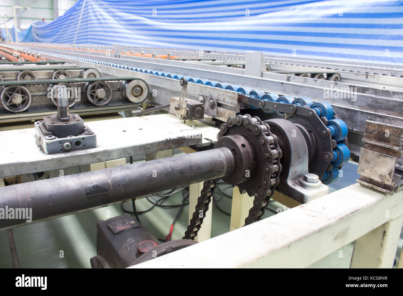 The chain and shaft drive  Line Conveyor - Stock Image