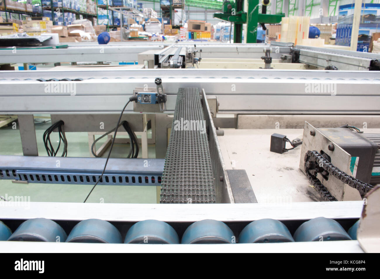 Conveyor belts in the production line of the factory. - Stock Image