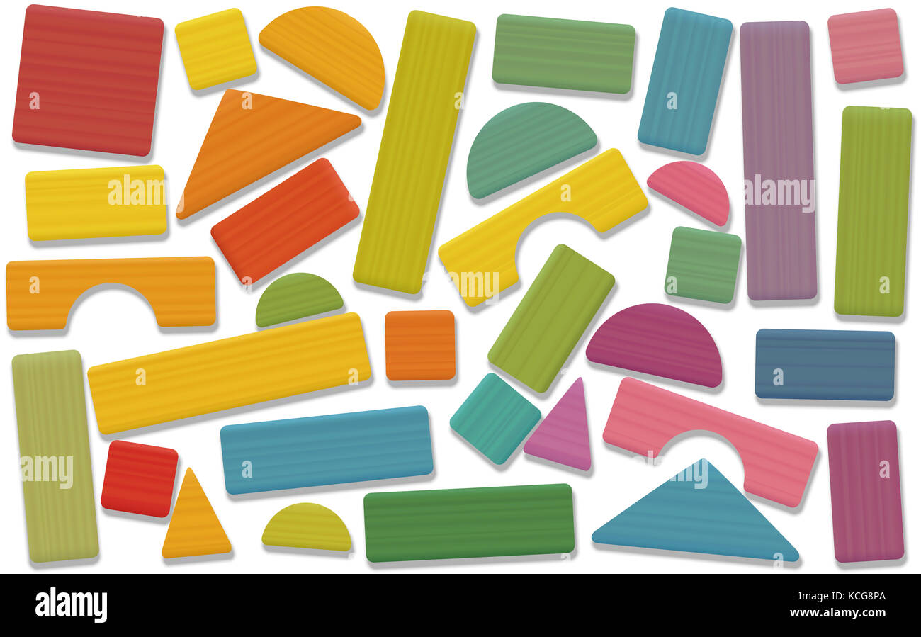 Building toy blocks - colored set, loosely arranged with bricks, roofs, spires, pillars and archs - all parts with - Stock Image