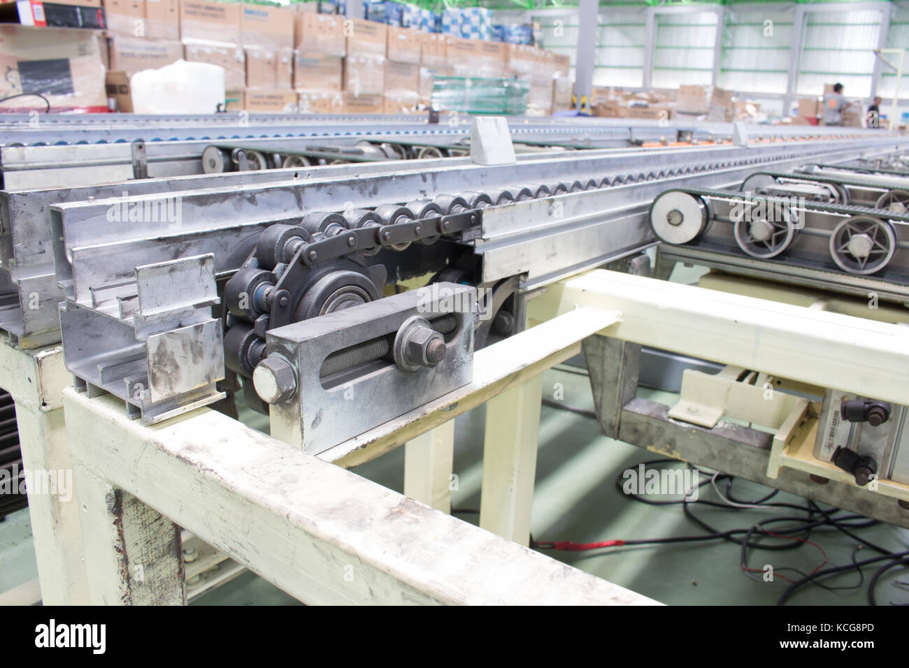 The Equipment chain tensioning Line of Conveyor - Stock Image