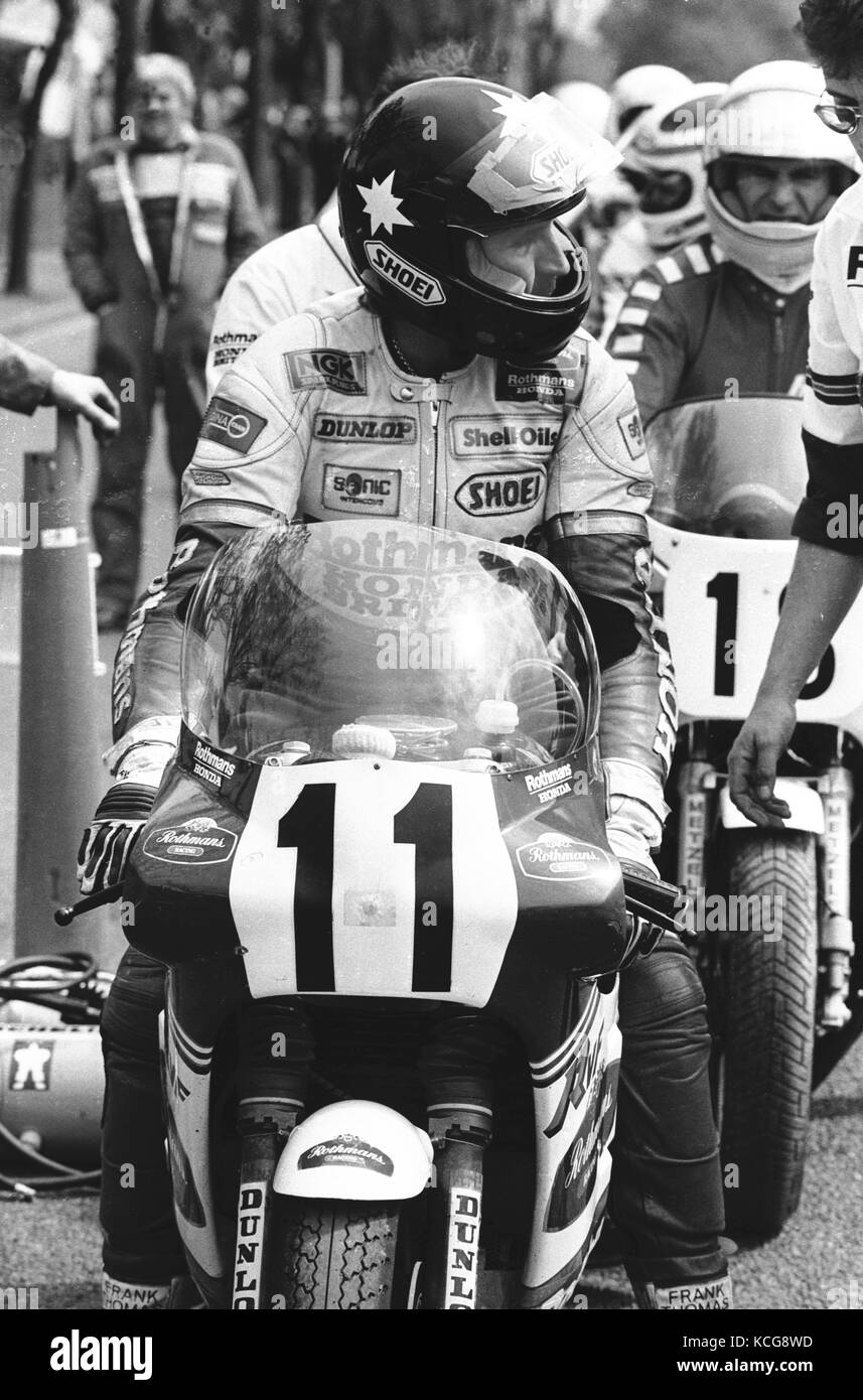 Roger Marshall motorcycle racer on the starting grid of the Isle of Man TT - Stock Image