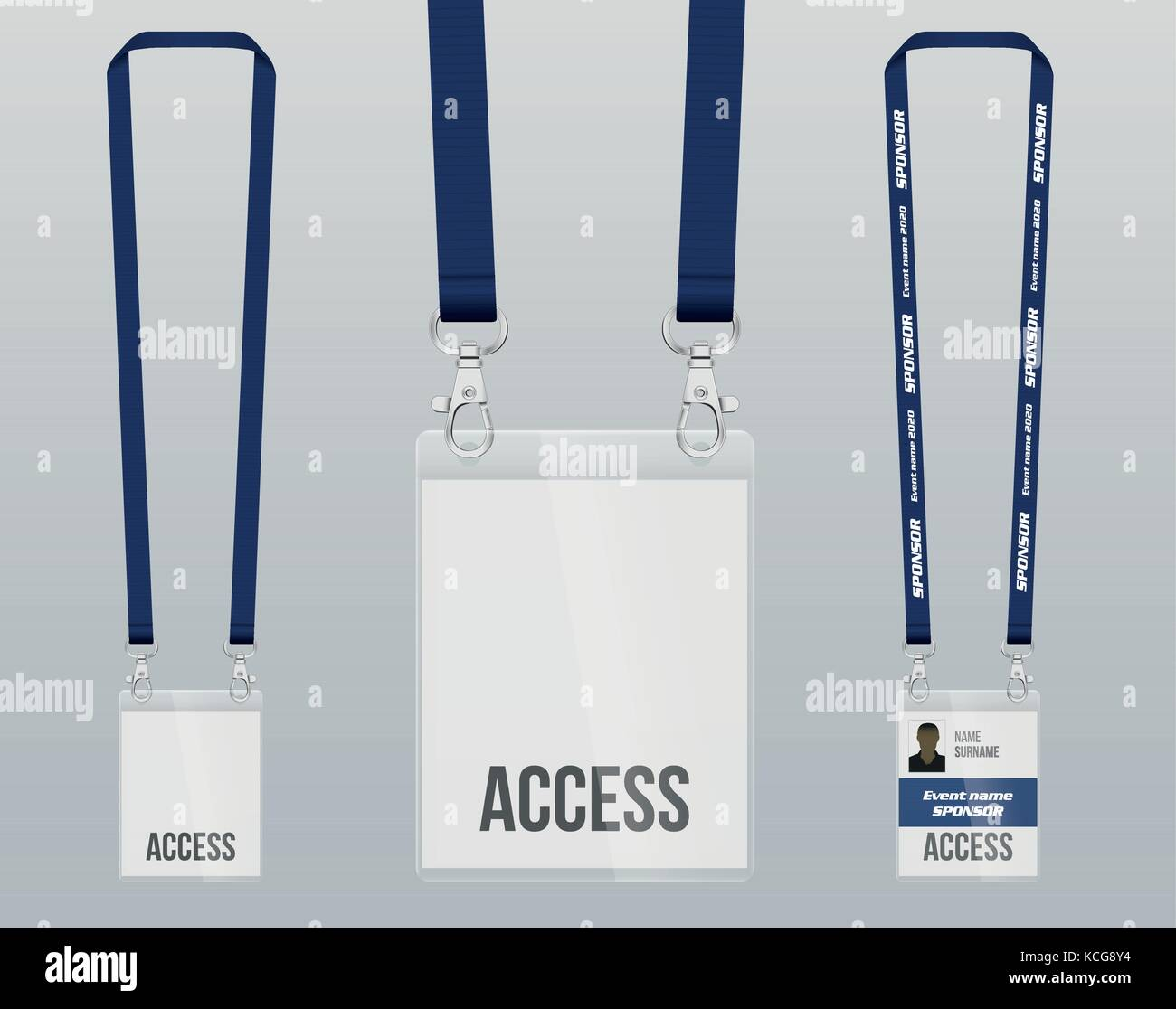 Set Of Lanyard And Badge Design Example Vip Pass Template Vector - Conference badge design template