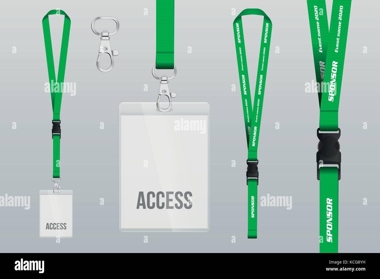 Set Of Lanyard And Badge Design Example Vip Pass Template Vector - Lanyard template