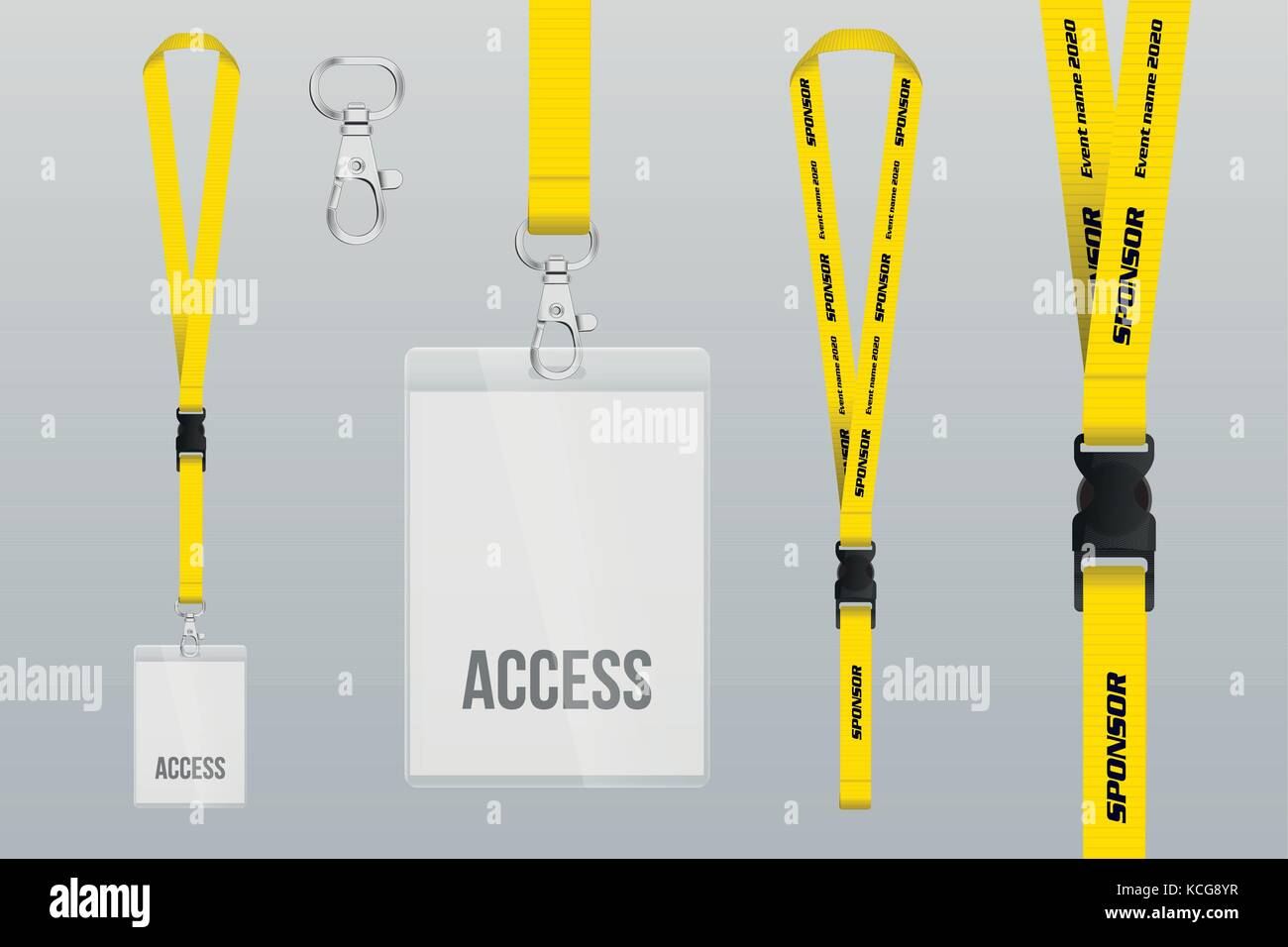 Set Of Lanyard And Badge Design Example Vip Pass Template Vector - Event badge template