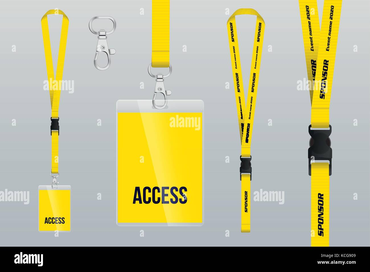 set of lanyard and badge design example vip pass template vector stock vector art. Black Bedroom Furniture Sets. Home Design Ideas