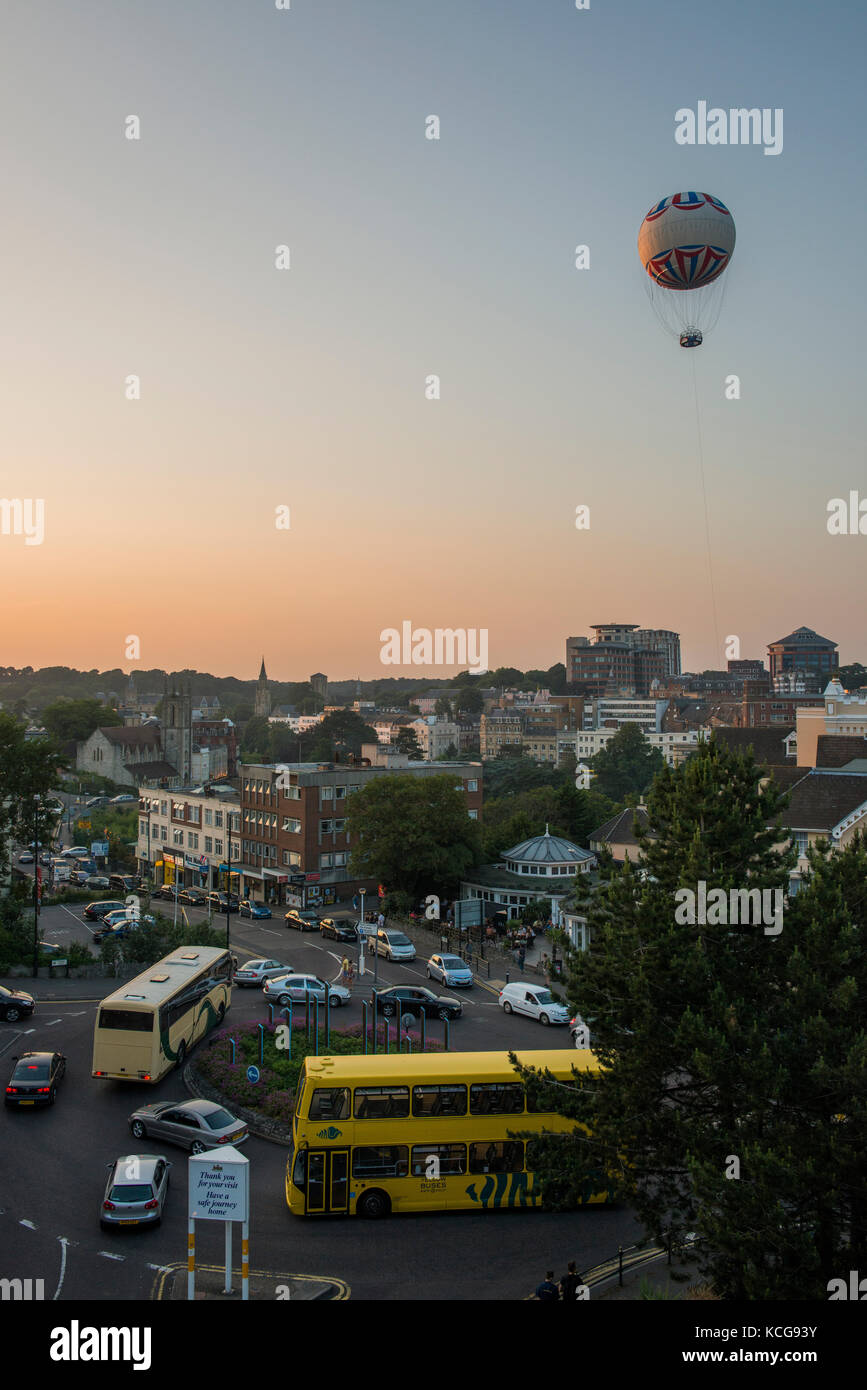 Bournemouth balloon flew for over 15 years but due to damage in 2016  it ceased to fly again. Image taken at dusk - Stock Image