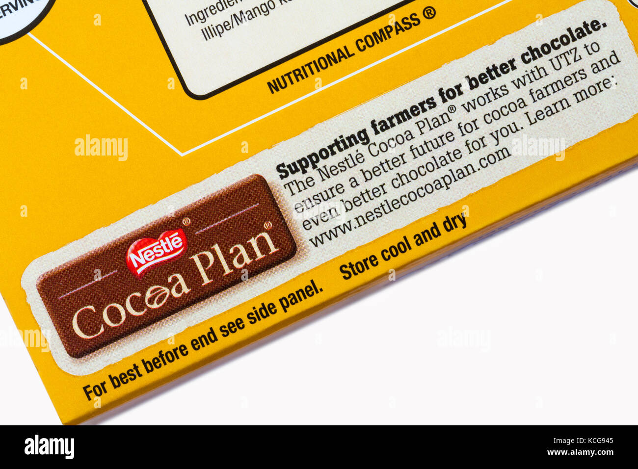 Nestle Cocoa Plan - information on box of Nestle Quality Street Matchmakers salted caramel - Stock Image