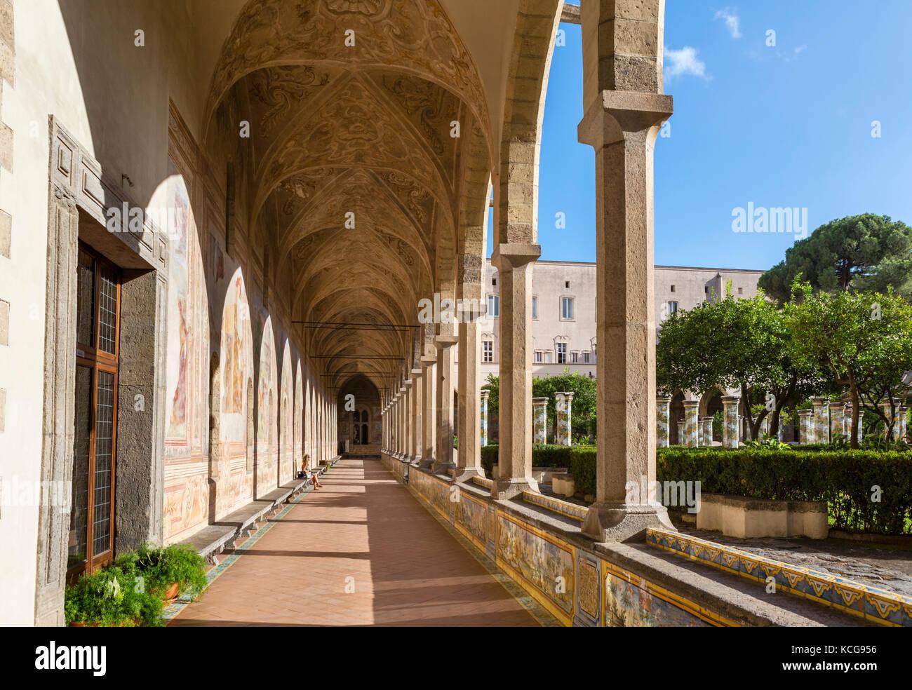 The Cloister of Santa Chiara (Chiostro di Santa Chiara), Convent of Santa Chiara, Naples, Italy - Stock Image
