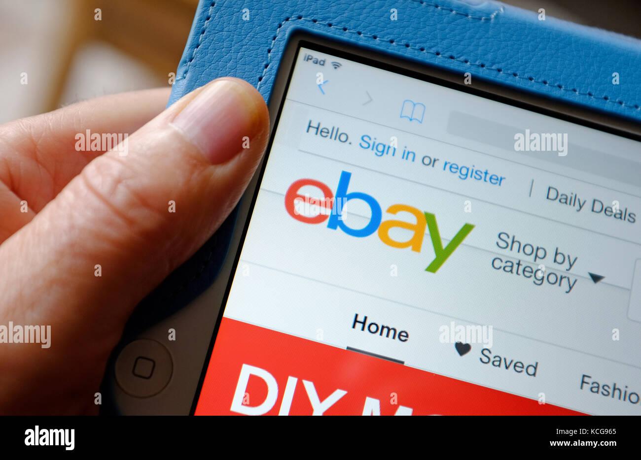 ebay logo on ipad tablet computer screen - Stock Image