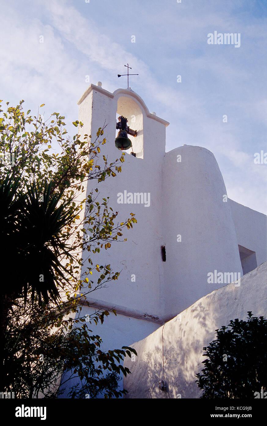 Church. Puig de MIssa, Santa Eularia des Riu, Ibiza island, Balearic Islands, Spain. - Stock Image
