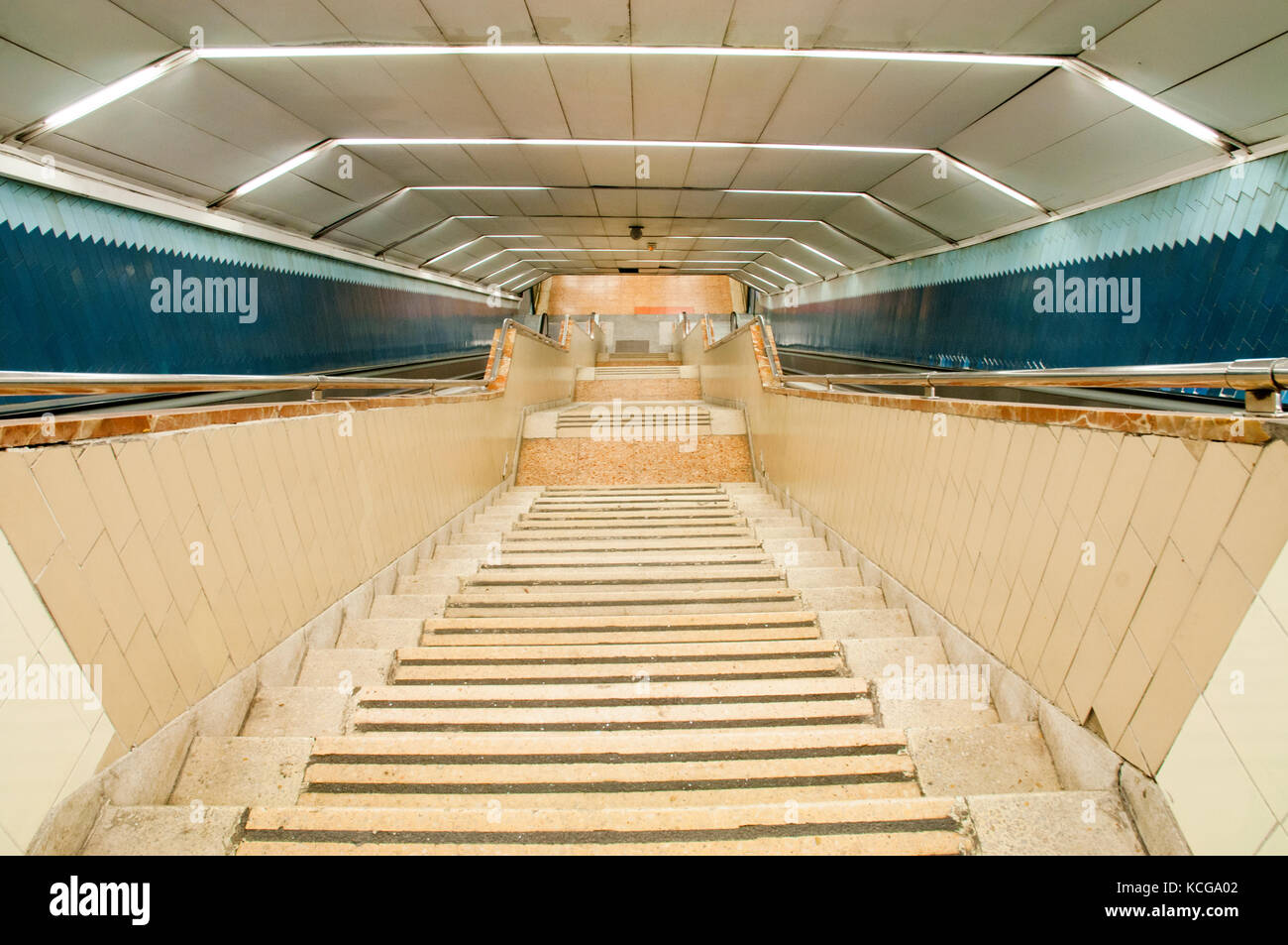 Underground stairs, view from above. Madrid, Spain. - Stock Image