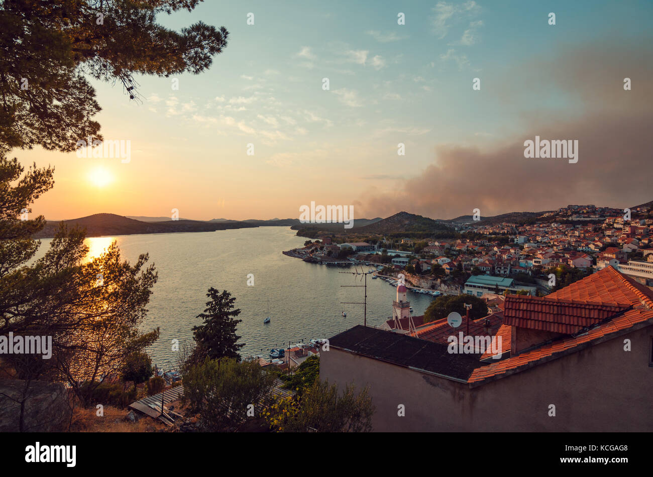 Stunning view onto Sibenik with a great sunset - Stock Image
