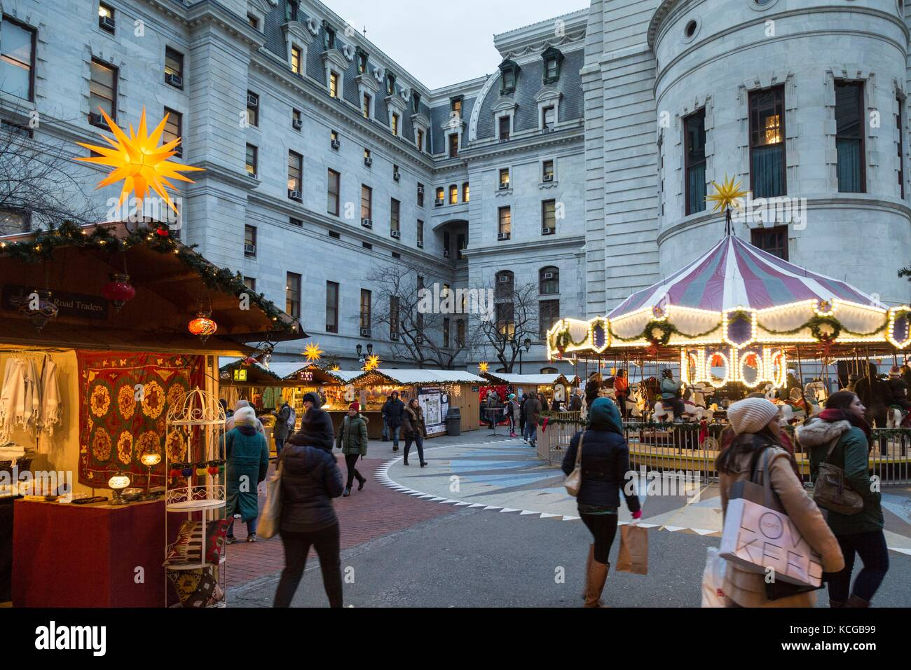 Philadelphia Christmas Market.Christmas Village And Winter Garden At Dilworth Park Outside