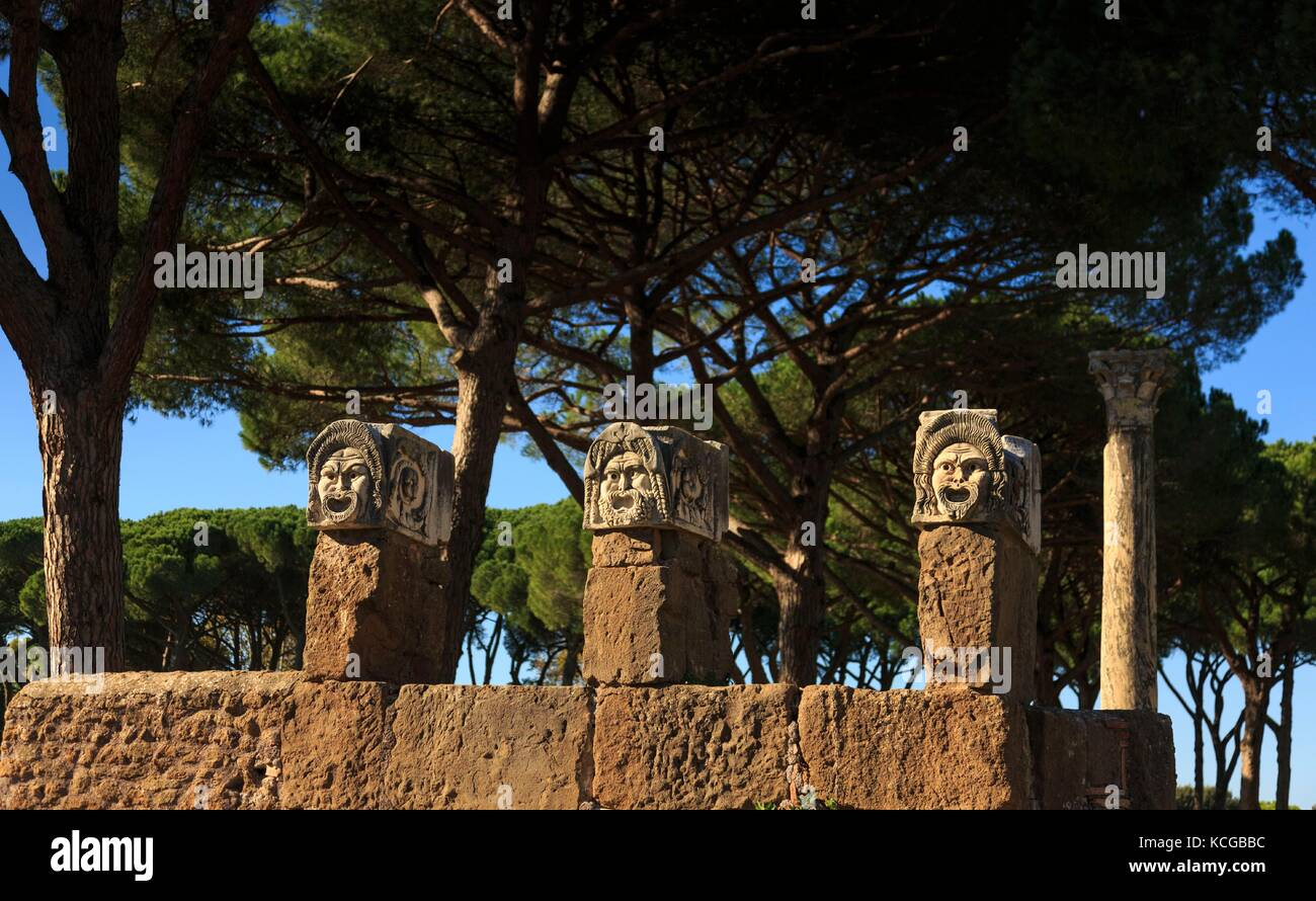 Theatrical mask at theater, Ostia Antica ruins, near Rome, Italy. - Stock Image