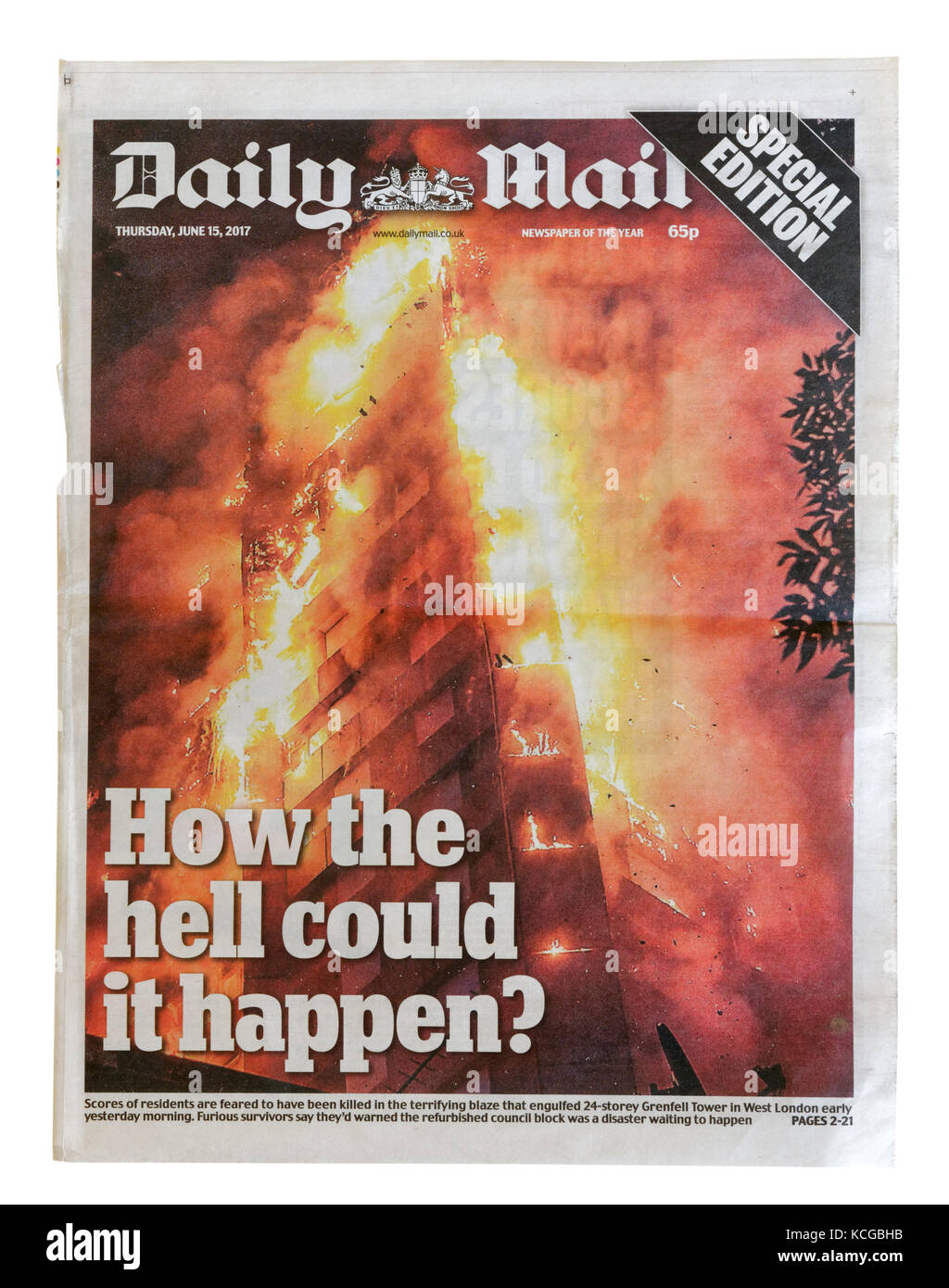 Daily Mail headline and coverage of the Grenfell Tower fire in London, England in which an estimated 80 people died - Stock Image