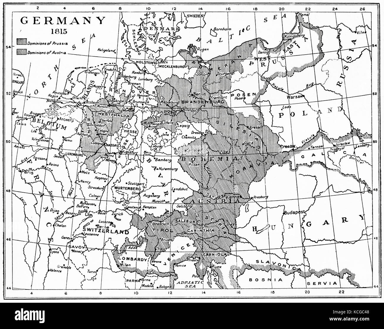 Congress of vienna stock photos congress of vienna stock images map of germany in 1815 after the congress of vienna from hutchinsons history of the sciox Choice Image