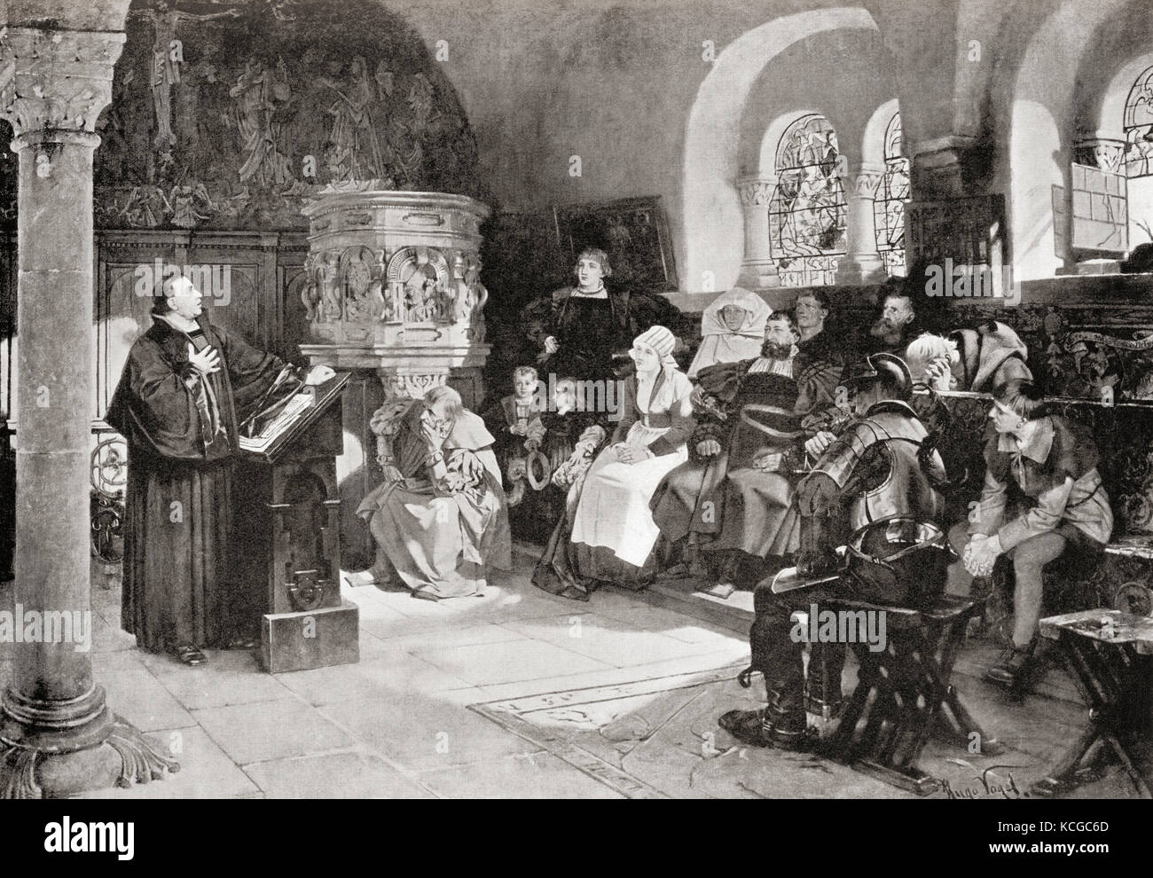 Martin Luther preaching in Wartburg Castle, Germany in 1521.  Martin Luther, 1483 – 1546. German professor of theology, - Stock Image