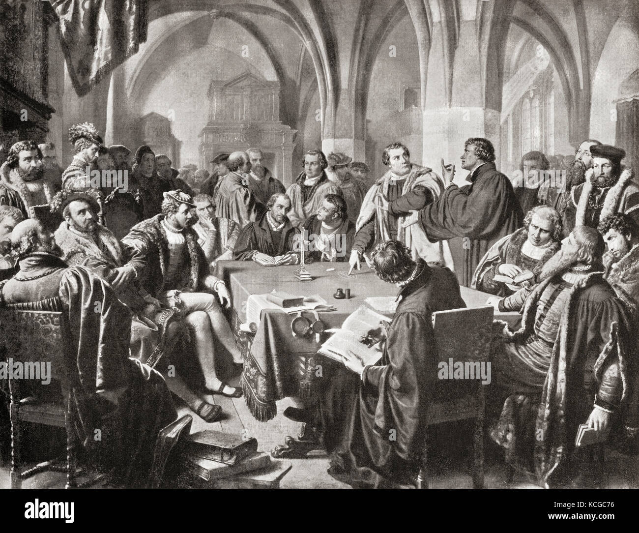 The Marburg Colloquy, Marburg Castle, Marburg, Hesse, Germany 1529. A  meeting