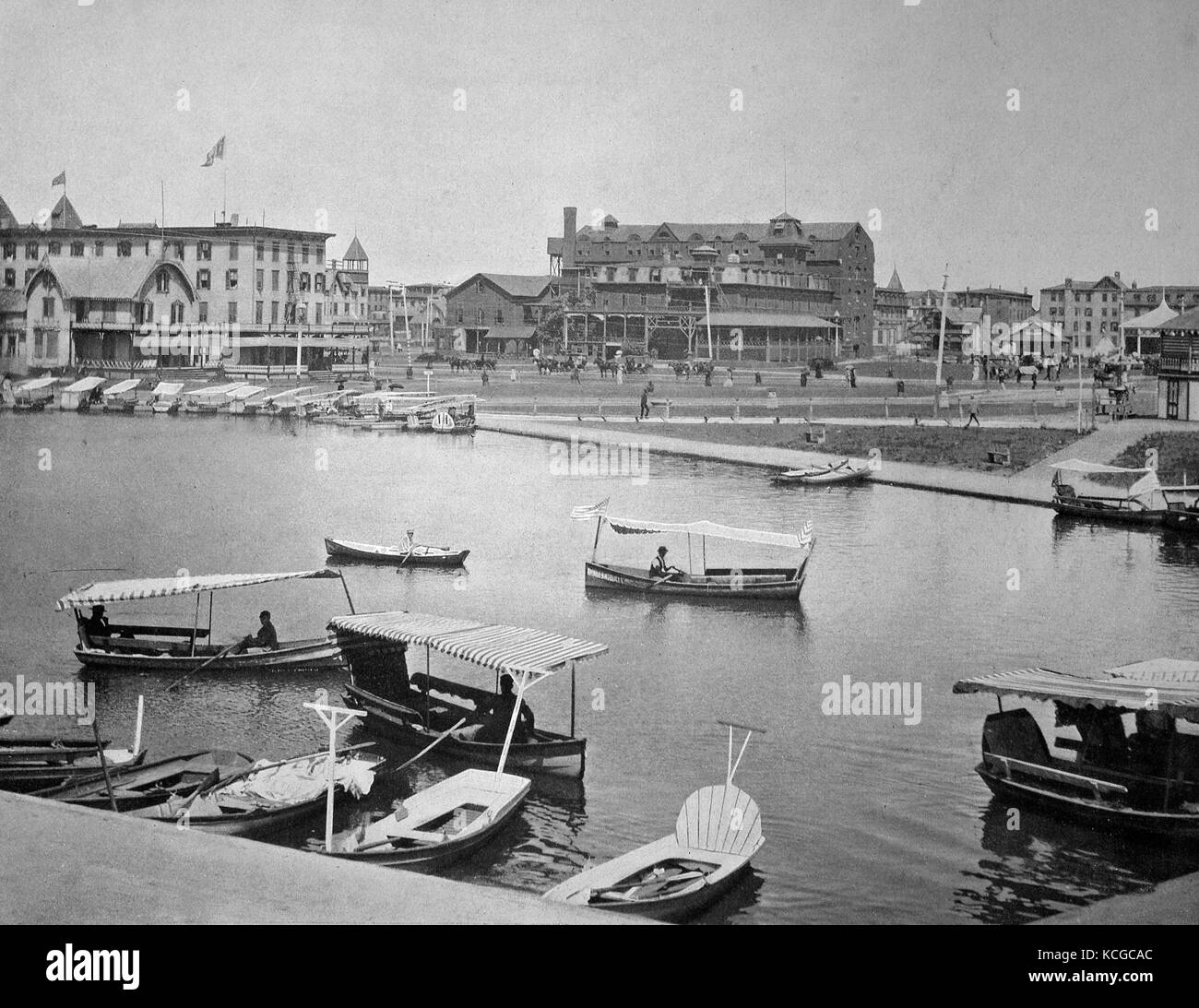 United States of America, the seaside resort of Asbury Park on Wesley Lake, State of New Jersey, digital improved - Stock Image