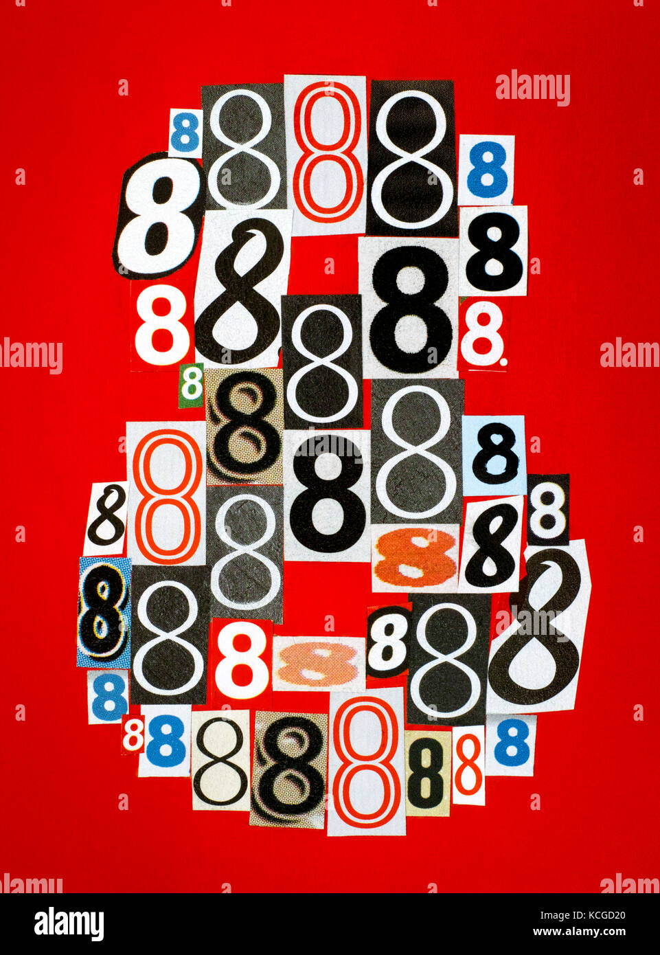 Number Eight made from numbers cutting from magazines on red background. Close-up. Stock Photo