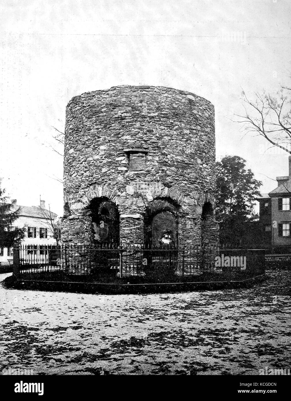 United States of America, the Newport Tower, Newport, Touro Tower, Newport Stone Tower and Old Stone Mill is located - Stock Image
