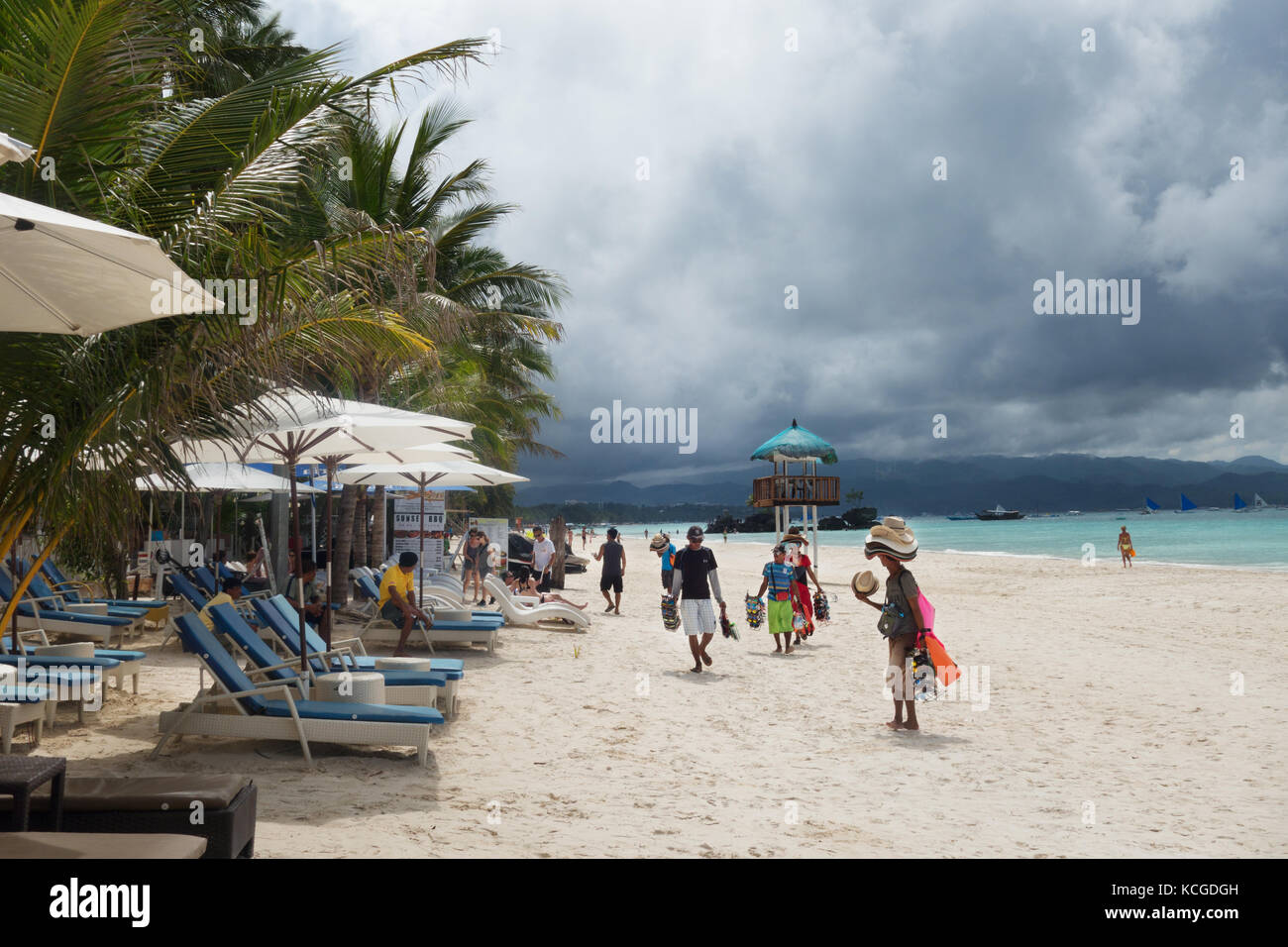 White Beach Boracay, Philippines - local sellers on the white sand beach, White Beach, Boracay Island, Philippines, - Stock Image